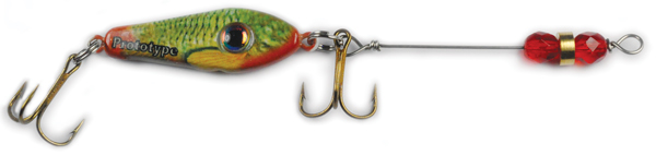 55580 - GreenRed Minnow w/Red Beads - 1/2 oz Prototype Fergie Spoon