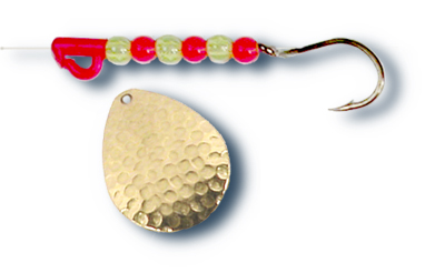 -136 - Hammered Gold w/ Perch Beads #1 hook