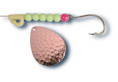 -700 - Hammered Copper w/ Chartreuse Beads